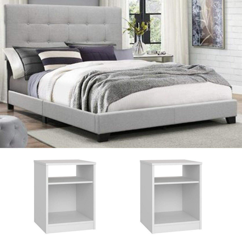 Bedroom Set King Size Furniture Grey Fabric Platform Bed Modern White Nightstand For Sale Online