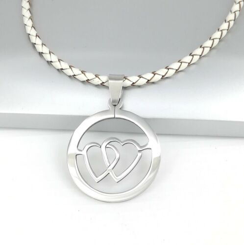 Silver Stainless Steel Heart Love Pendant Womens Braided White Leather Necklace
