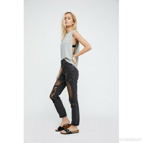 Free People Ragged Priest Women's Grey Distressed Agony High-Rise Jeans Size 24