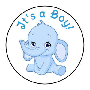 24 its a boy baby blue elephant shower favor labels round