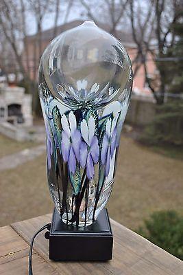 "Signed Daniel Lotton ""Multi-Flora"" Art Glass Sculpture Paperweight Boudoir Lamp"