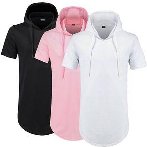 Mens-Hooded-T-Shirt-Hipster-Hip-Hop-Streetwear-Short-Men-Longline-Zipper-T-Shirt