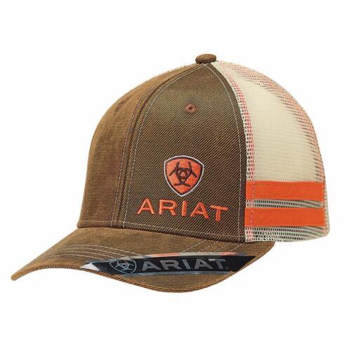 Ariat Homme Casquette de baseball Orange Stripes Mesh Snap Back Logo Marron 1595002