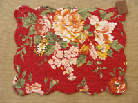 Marie Quilted Placemat - Flowers In Gold, White, Green, Salmon, Rust On Red