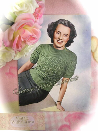 """Bust Fit 32in 1940/'s Knitting Pattern Teenager Lady/'s /""""Teen-Age/"""" Jumper"""