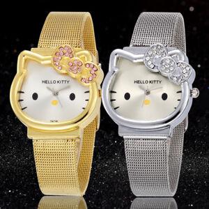Hello-Kitty-Gold-Silver-Watch-Cartoon-Watches-Girl-039-s-Children-Wristwatch-Casual