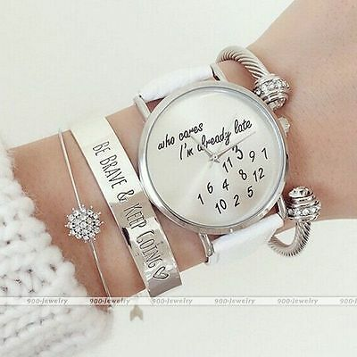 Ladies women trendy newest Leather Fashion Watch Who Cares Im Already Late gifts