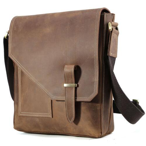 Vintage Men/'s Leather Messenger Shoulder Bag Small Cross Body Satchel Schoolbag