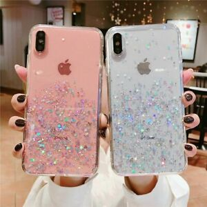 Bling Glitter Case For Iphone 7 Plus 8 Xr Xs Max Clear Gel Soft Phone Case Cover Ebay