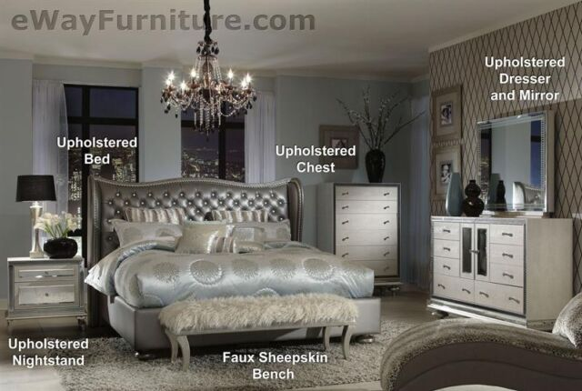 AICO Hollywood Swank Metallic Graphite Leather Queen Bed Bedroom Furniture