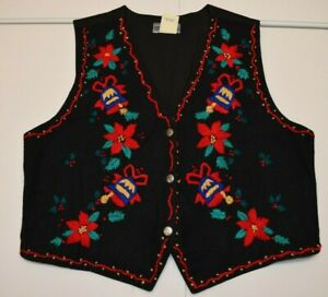 Button Vest Red Flowers Vest 1995 Eagles Eye Vest Womens Small Christmas Sweater Vest Ugly Christmas Vintage Red Poinsettia Vest