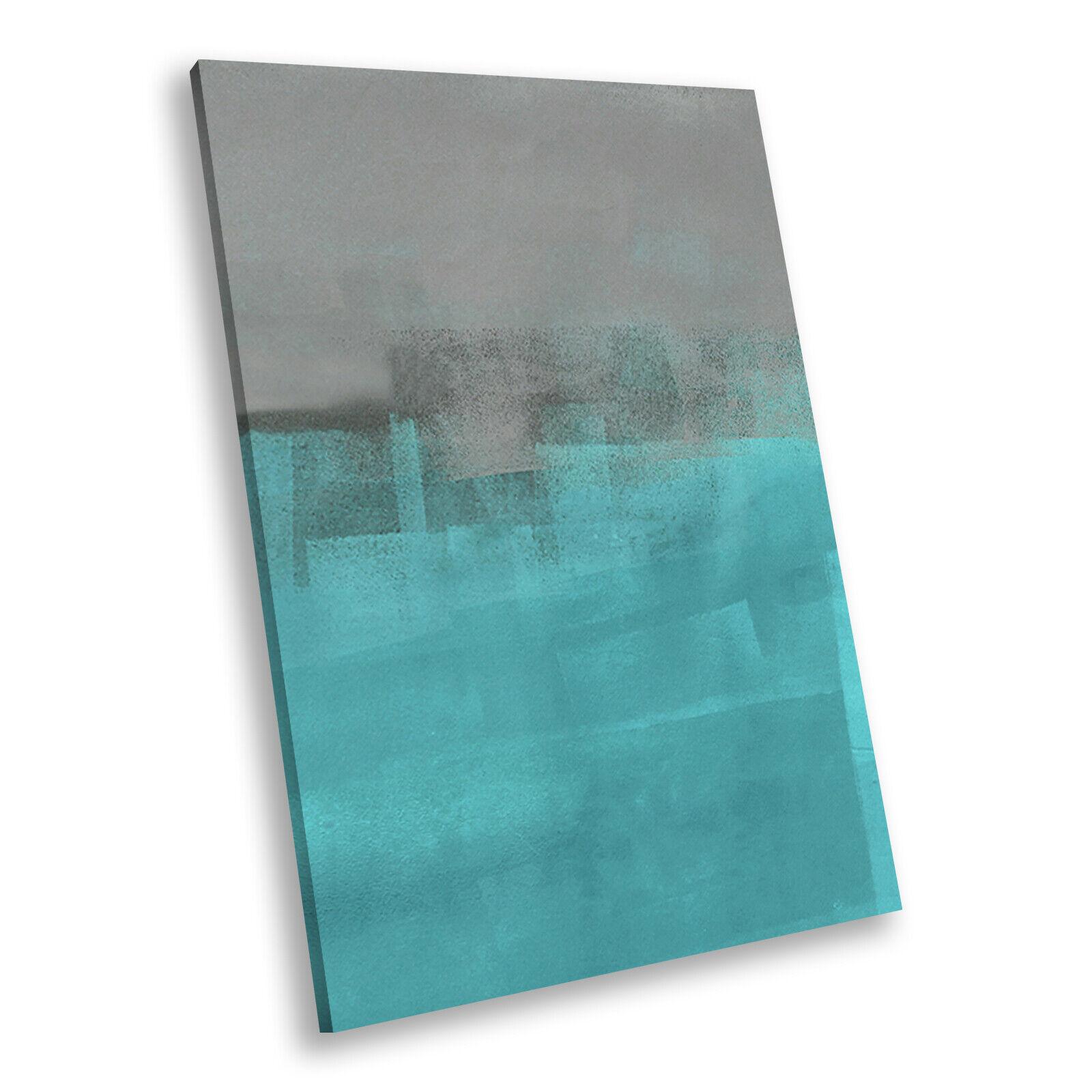 Retro Blau grau Cool Portrait Abstract Canvas Framed Kunst Large Bild