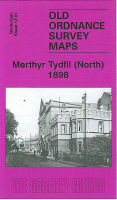OLD ORDNANCE SURVEY MAP MERTHYR TYDFIL NORTH 1898 PEN-Y-DARREN WILLIAMSTOWN