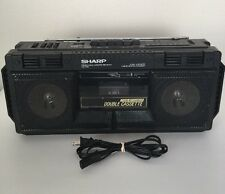 Vintage Sharp WQ-T232 Double Cassette AM/FM Radio Boombox with Graphic Equalizer