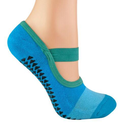 2 Pack Ladies Invisible Non Anti Slip Grip Pilates Yoga Socks with Straps