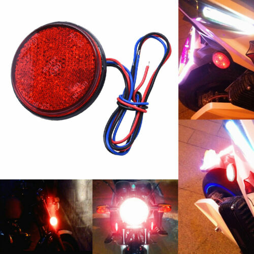 1pc Red 24LED Motorcycle Round Reflector Tail Brake Turn Signal Light Lamp 12V