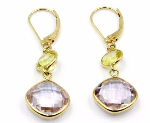 Pink Amethyst /& Lemon Quartz Hanging Earrings,14K Yellow Gold Leverbacks