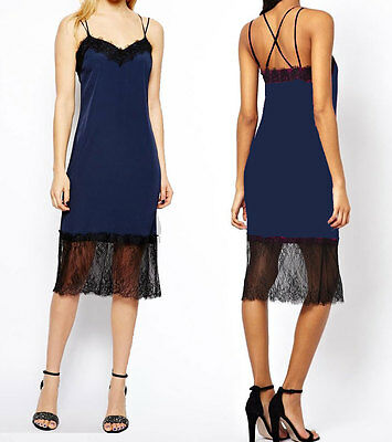 Midi Navy Cami Dress With Lace Trim in style of  Carrie Bradshaw 8 10 12 new
