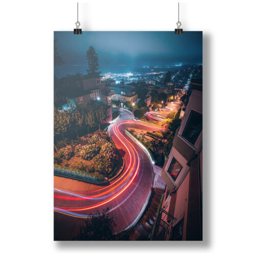 Crooked Street In San Francisco In The Night A0 A1 A2 A3 A4  photo poster a3615h