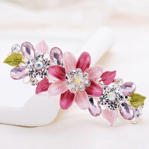 Womens Girls Crystal Barrette Rhinestone Flower Hair Clip Clamp Hairpin Headwear