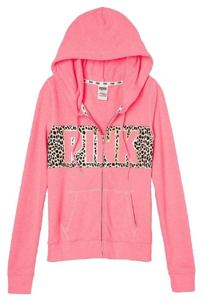 PINK Victoria's Secret Perfect - Pink Animal Leopard Print Sweatshirt Hoodie S