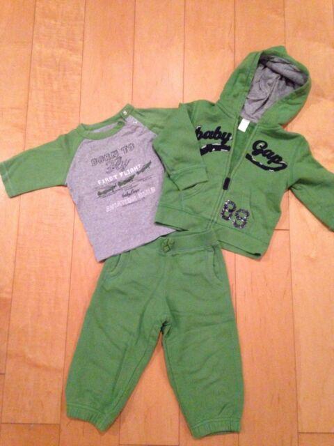 Baby GAP Boy's Outfit Set Hooded Sweatshirt shirt top pant 18-24