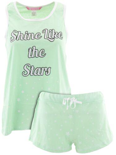 Love Loungewear Juniors Shine Like The Stars Mint Cotton Sleeveless Short Pajama