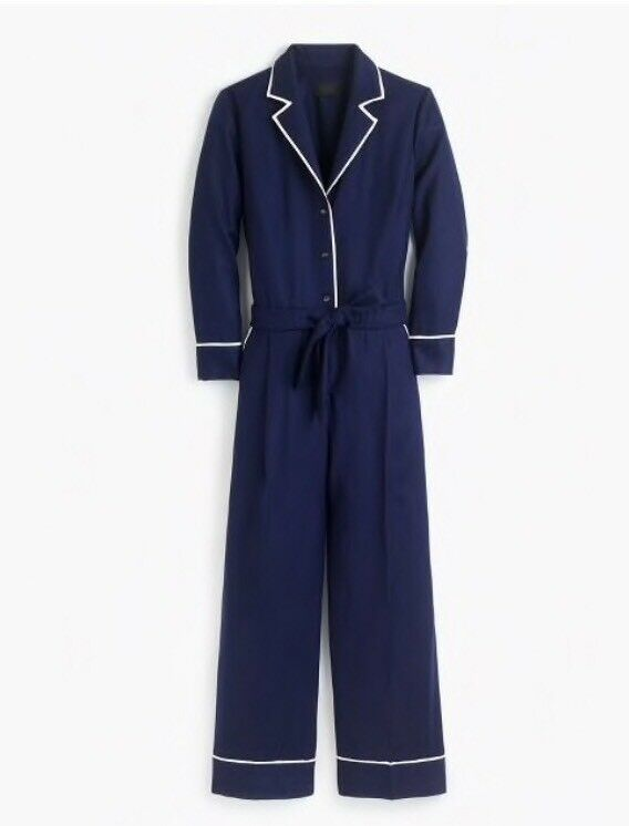 New J.CREW Collection Tipped Wolle Flannel Jumpsuit Navy Größe 00 F9537