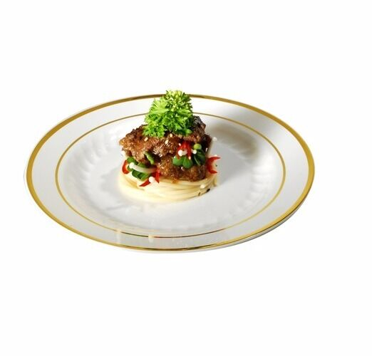 120 9  Dinner Plates Masterpiece Style Bone-Gold Rim Disposable Plastic