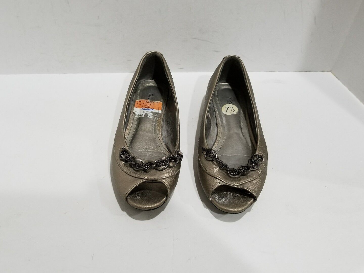 Nicole Womens Loafers Metallic Leather Open Toe Loafers Womens Size 7.5 M 315071