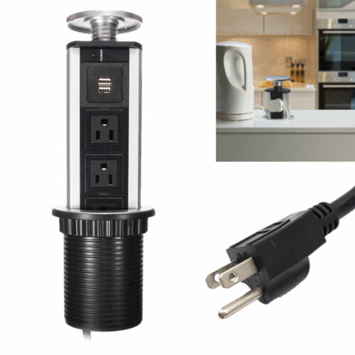 Electrical Pull Pop Up Power Outlet 3 US Plug 2 USB Sockets Kitchen Worktop Desk