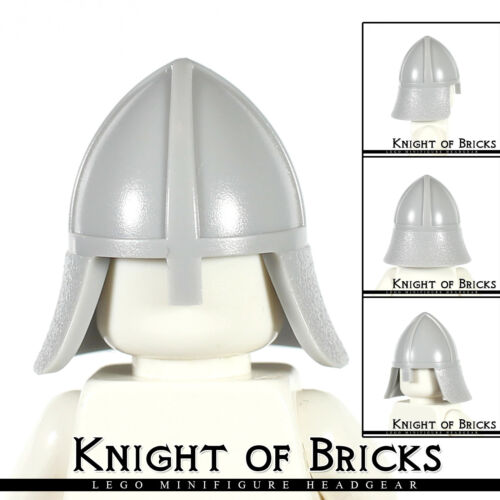 LEGO Minifigure LIGHT GRAY Headgear Helmet Castle with Neck Protector Knight