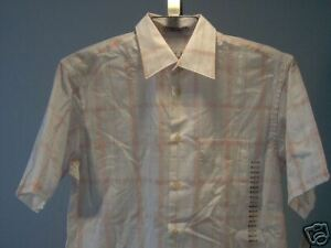 Geoffrey-Beene-Short-Sleeve-Shirt-White-Coral-M-Men-039-s-Clothing