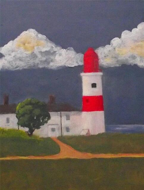 Northern Art Original Painting SOUTER LIGHTHOUSE  BY :-   SW WARD M.A. FINE ART