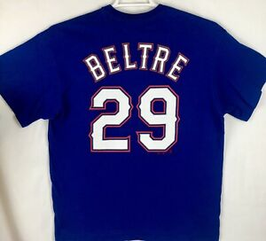 MAJESTIC-Texas-Rangers-MLB-29-Adrian-Beltre-Blue-T-Shirt-Men-039-s-Size-L-EUC