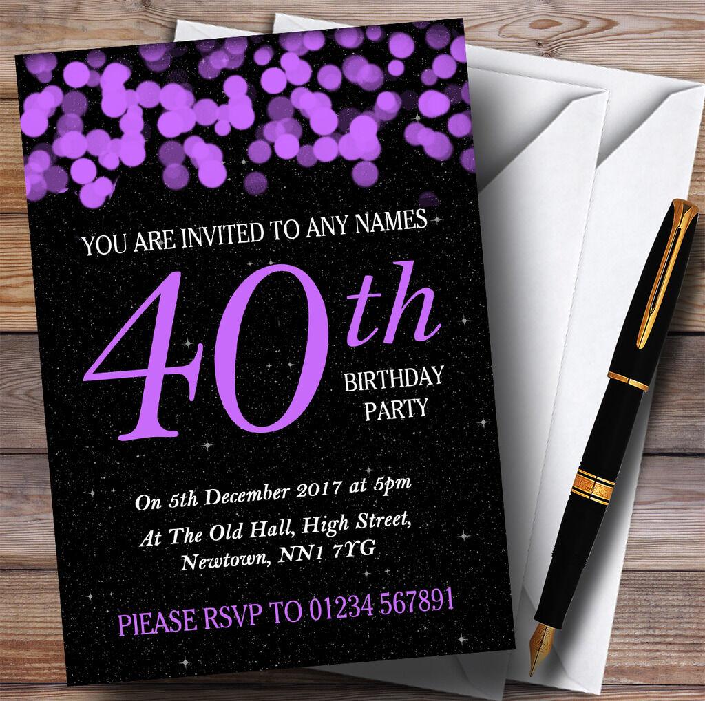 lila Bokeh & Stars 40th Personalised Birthday Party Invitations