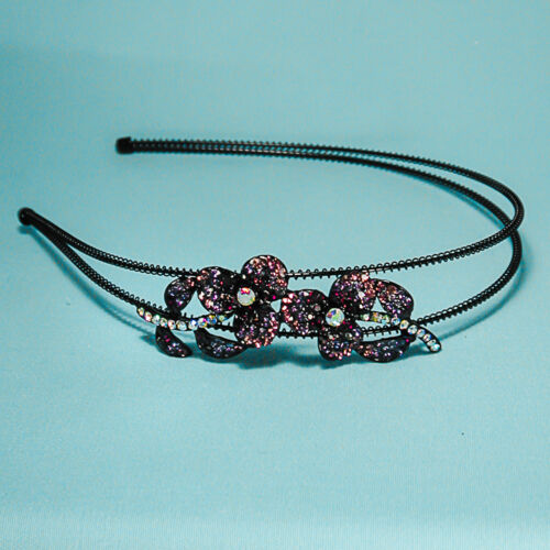 Beautiful Crystal Rhinestone Flower Headband with Bling on Wire Band Multi Color