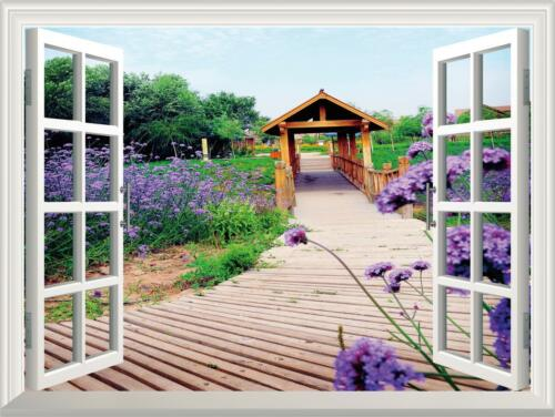 Wood Bridge Bluebell Garden 3D Window View Wall Sticker Home Decor Decal 51*72CM