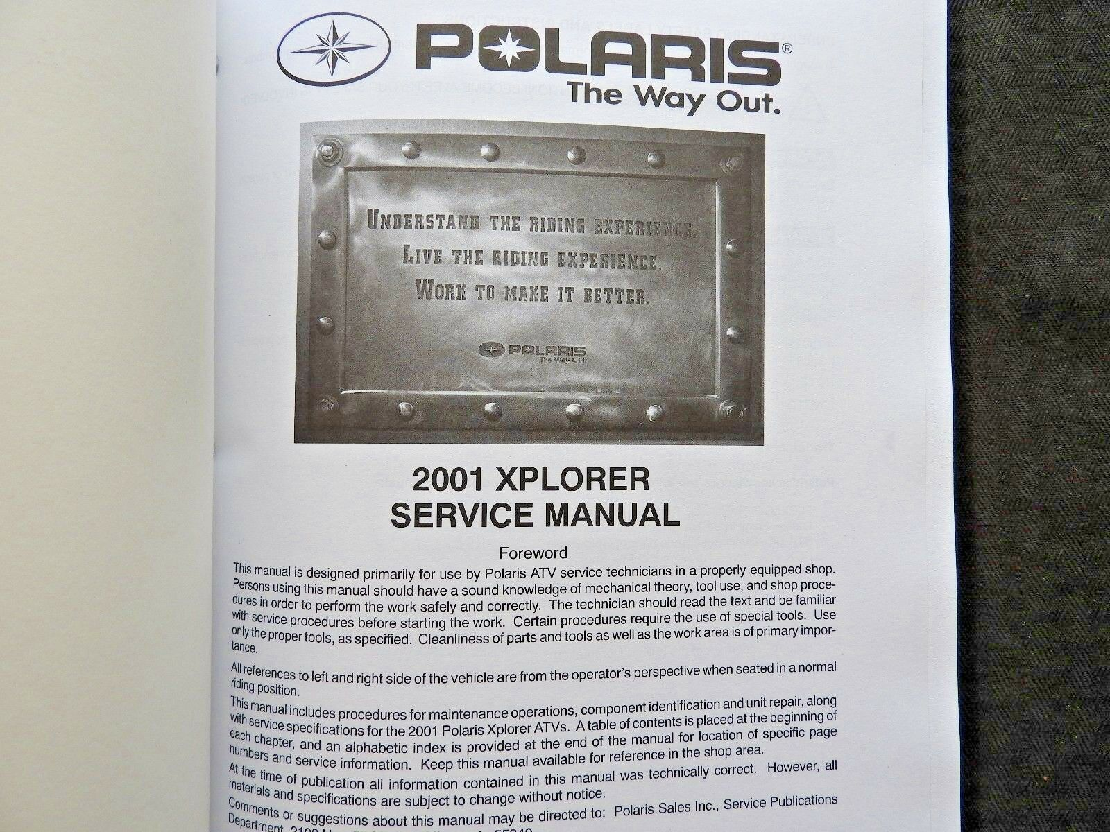 2001 Polaris Atv Xplorer 400 4x4 Service Repair Manual Ebay 300 Wiring Diagram