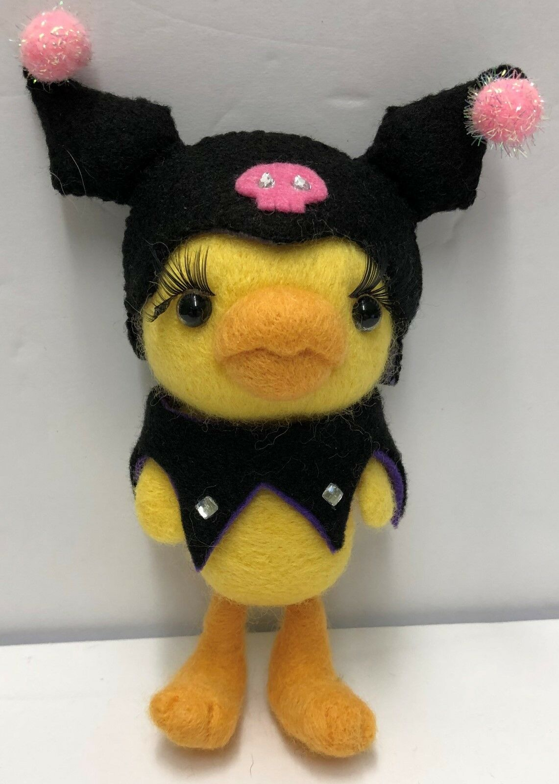 Original One Of A Kind Firm Needle Felted giallo Bird with Bat Costume
