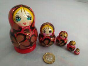 Wooden Russian Nesting Babushka Matryoshka 5 Dolls Set Hand Painted New