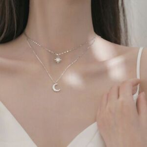 Double-Layer-Star-Moon-Clavicle-Chain-Necklace-For-Women-Girl-Fashion-Jewelry