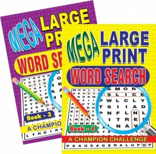 2 Word Search Puzzle Book Large Print Quiz Puzzles Books Brain Challenge IQ 3&4