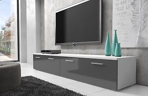 Meuble-TV-Armoire-Bas-Boston-200-cm-Corps-Blanc-Mat-Avant-Gris-Brillant
