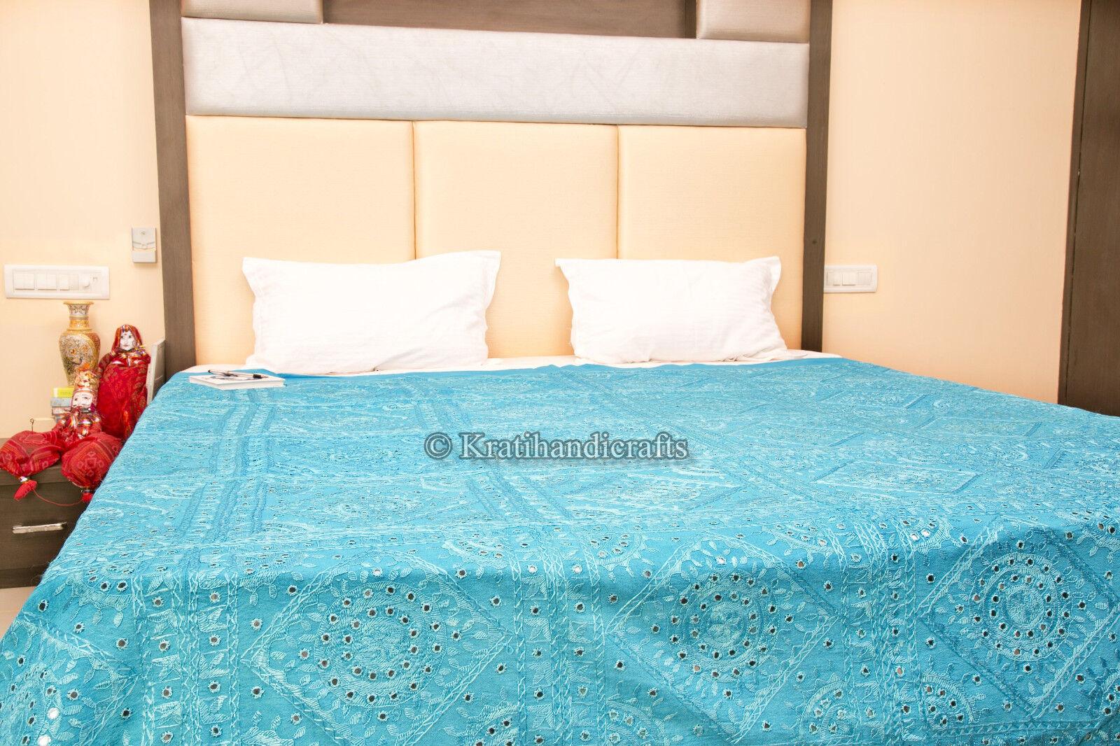 Vintage Royal decor Hand Embroidered Bed Cover Ethnic Blanket Decorative Bedding