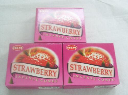 3 Packs of 10 Cones = 30 Cone Hem Strawberry Incense Cones