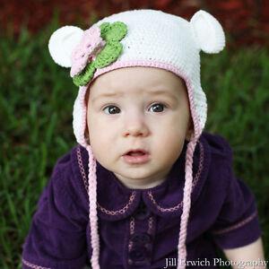 Melondipity Girls White Crochet Baby Beanie Hat Knit Pink Flower Ear Flap Animal