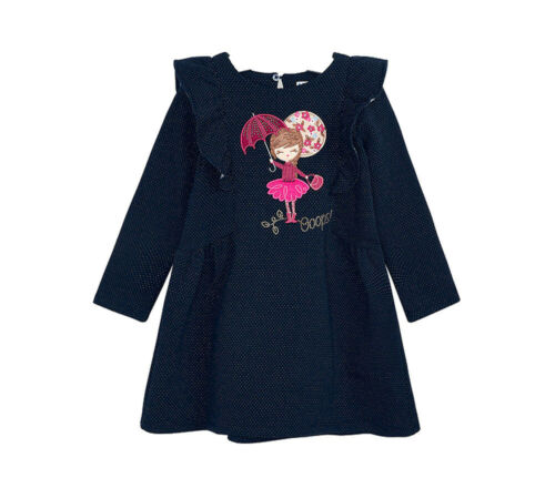 92-134 Rüschen A-Form Mayoral Mädchen Winter-Kleid dunkelblau langarm Gr