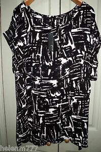 Women-Plus-20-22-Chic-Black-White-Print-Light-Polyester-Cuff-Sleeve-Drape-Top