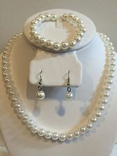 Faux Pearl Necklace Bracelet and Earring Set White Wedding Bridesmaid Women Girl